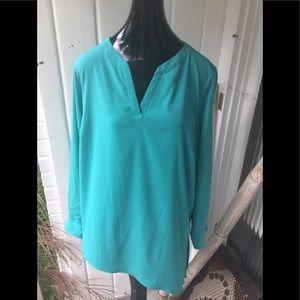 Susan Graver Teal Green Classy Shirt Blouse 18W